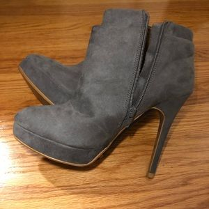 ZARA Grey Suede Heel Booties